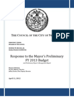 NYC Council Preliminary Budget Response FY 2013