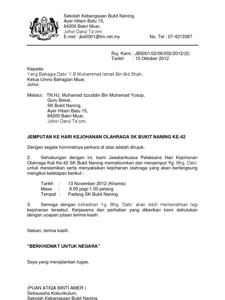 Contoh Surat Rasmi Jemputan Perasmian Muharram O