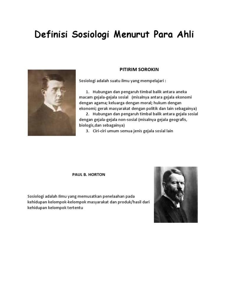 Definisi Sosiologi Menurut Para Ahli