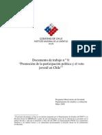 Documento de trabajo n°9 ''Promocion de la participacion politica y el voto juvenil en Chile''