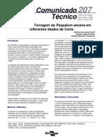 Produção de Forragem de Paspalum secans em Diferentes Idades de Corte