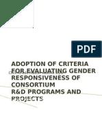 Adoption of Criteria for Evaluating r&d Gender Responsiveness 2012