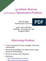 Solving Infinite Horizon Stochastic Optimization Problems
