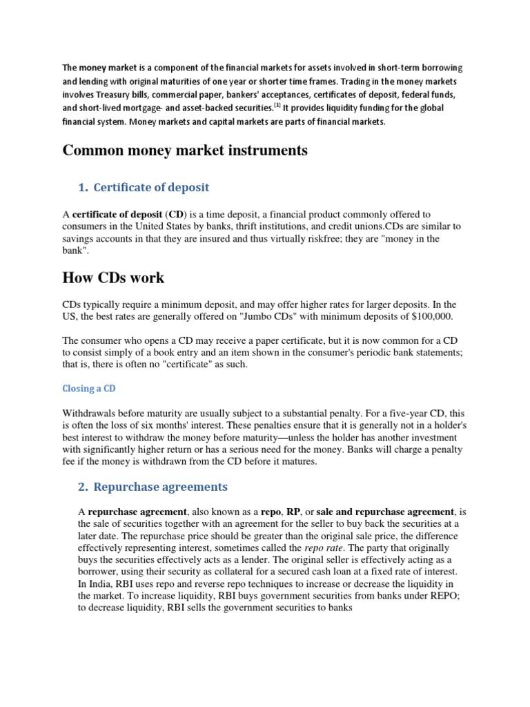Money markets certificate of deposit commercial paper xflitez Gallery