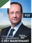 Profession de Foi de Francois Hollande - Election Présidentielle 2012 - Premier Tour