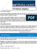 Word Problems Algebra