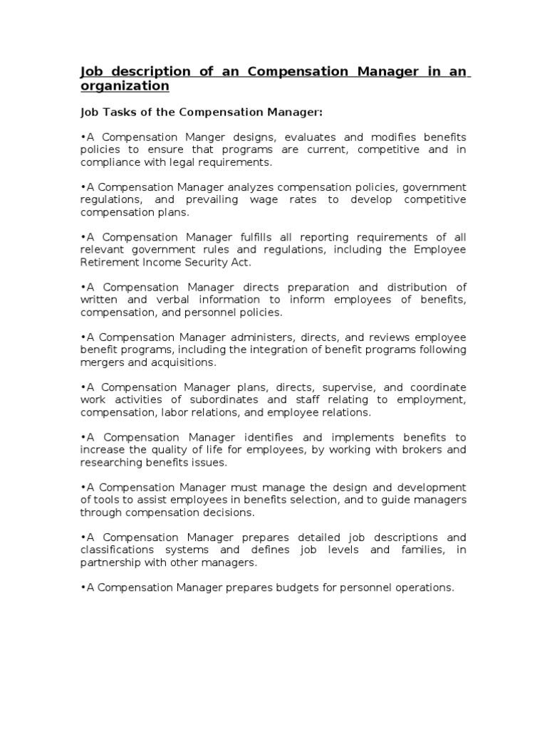 job description of an compensation manager in an organization
