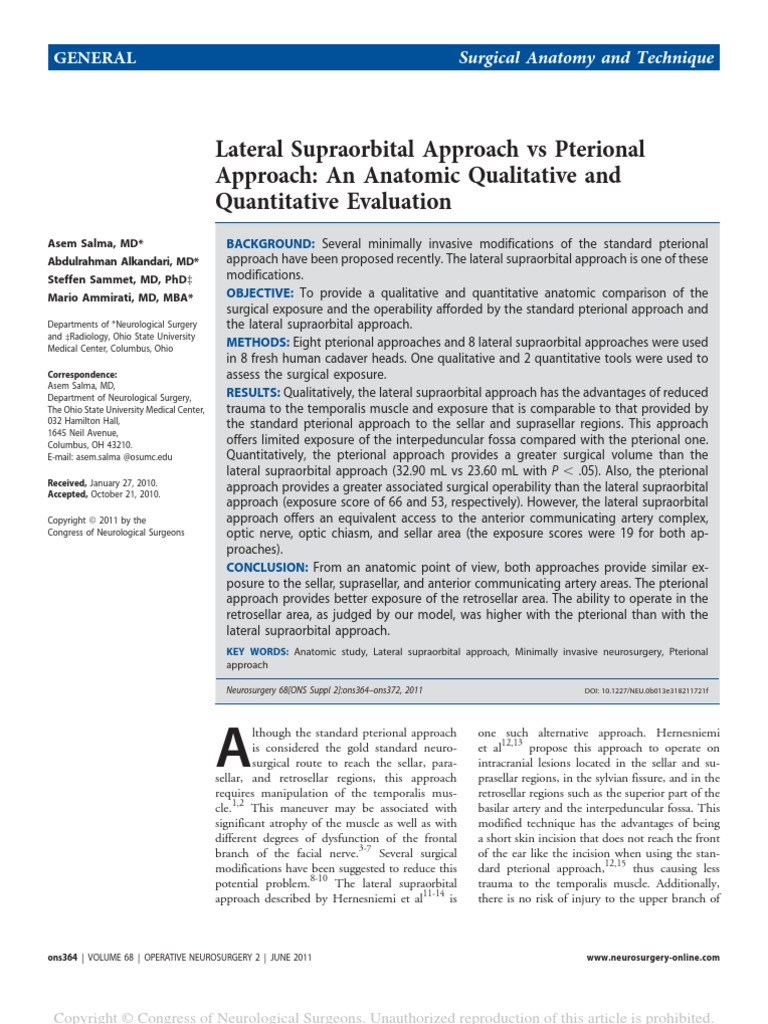 7 Lateral Supraorbital Approach Vs Pterional17 Surgery Neurosurgery