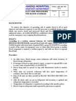 Blood Storage Policy and Procedure