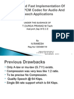 Design and Fast Implementation of G726 ADPCM Codec for Audio and Speech Applications