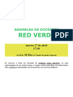 Cartel Asamblea de Docentes de Red Verde 17 Abril