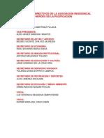 Relacion de Directivos de La Asociacion Residencial Heroes de La Pacificacion