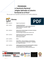 Programa Del Seminario Nacional - Geotecnologias Aplicadas Al Catastro Territorial en El Peru