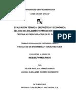 Evaluacion Termica Energetica y Economica Del Uso de Aislantes Termicos en Edificios de Oficina Acondicionados en El Salvador