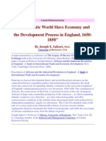 The Atlantic World Slave Economy and the Development Process in England