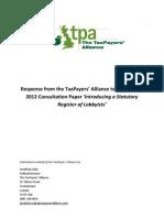 TPA Lobbying Consultation Response