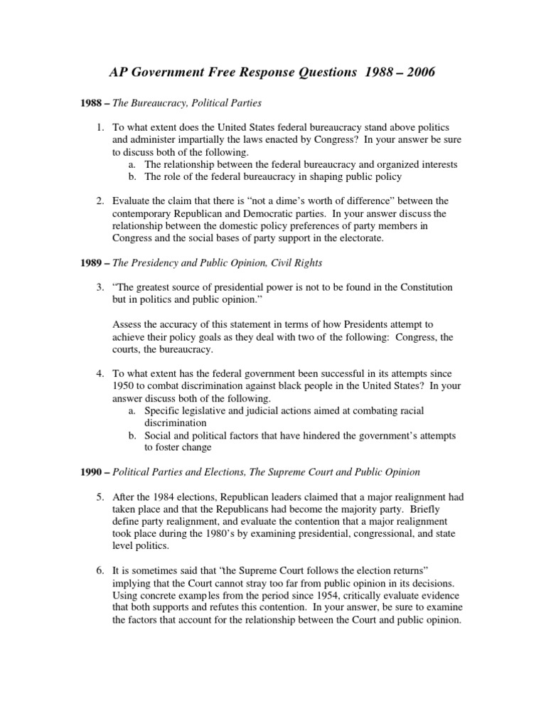 Ap Questions I United States Congress United States Government