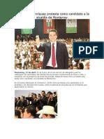 Toma Felipe Enríquez protesta como candidato a la alcaldía de Monterrey