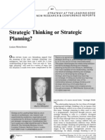 Strategic Thinking or Strategic Planning
