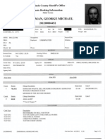George Zimmerman's booking report