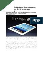 Apple vende 3 milhões de unidades do Novo iPad no fim de semana de lançamento