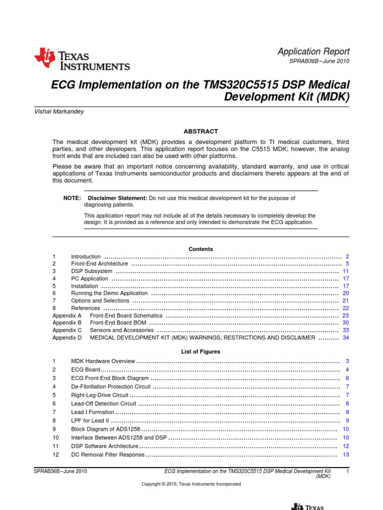 ECG Implementation on the TMS320C5515 DSP Medical