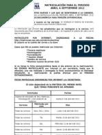 Procedimiento Para Matriculacion 2012-2012