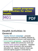 Act 9 M01 List the Health Programs and Activities for Urban
