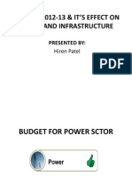 BUDGET 2012-13 & IT'S EFFECT ON POWER AND INFRASTRUCTURE