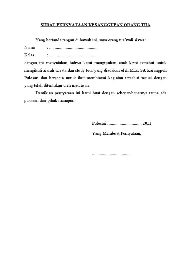 Surat Pernyataan Kesanggupan Orang Tua