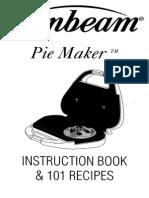 Sunbeam Pie Maker Inst Book & 101 Recipies 4805