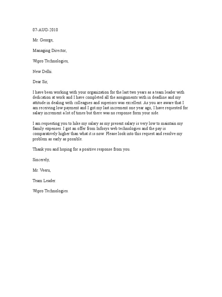 Sample Increment Letter Format.  Download Sample Request Letter for Salary Increment in Word Format