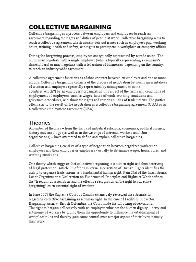 Collective Bargainning 3 Pages Collective Bargaining Business Law