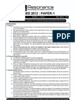 IITJEE Solutions Answer Key 2012 Solved Test Paper 1 E