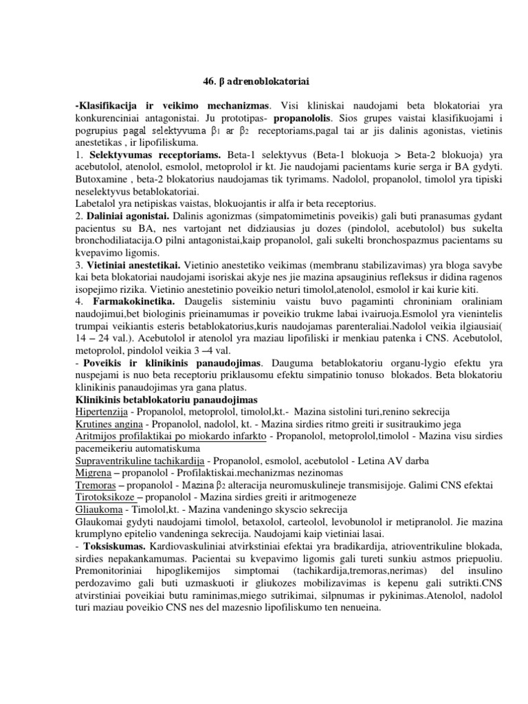 širdies ligų ir hipertenzijos beta adrenoblokatoriai)