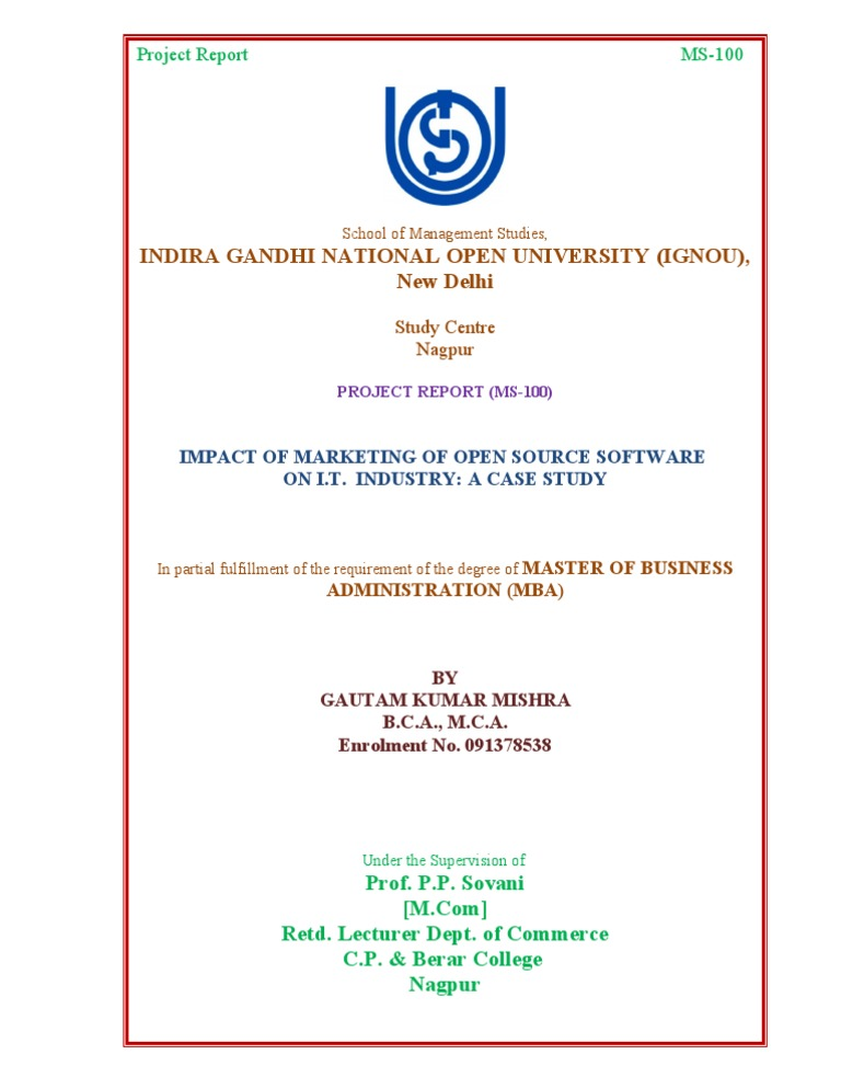 Cover page ignou project yelopaper Images