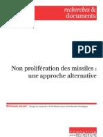 Non prolifération des missiles
