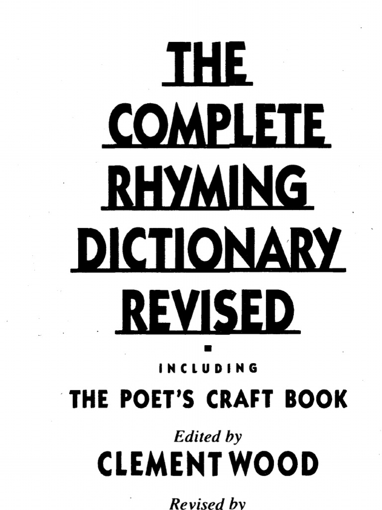 The Complete Rhyming Dictionary   Metre (Poetry)   Poetry