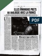RWANDA, Les rebelles Rwandais prêts au dialogue avec la France
