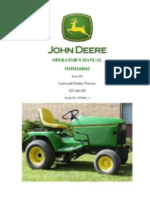 john deere 425 lawn tractor mower wiring schematics jd 425 445 operators manual tractor carburetor  jd 425 445 operators manual tractor
