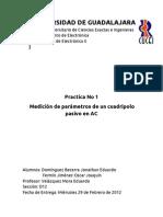 Practica 1- Medición de parámetros de un cuadripolo pasivo en AC