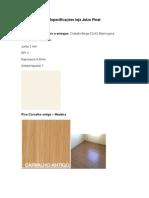 Especificações trabalho de interiores