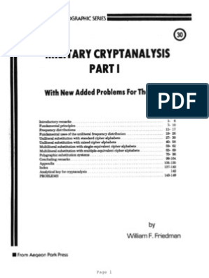 Military Crypt Analysis By Sreekanth Chaladi   Cryptanalysis