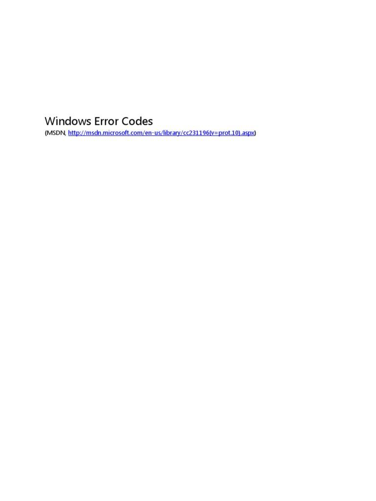 Windows Error Codes (MSDN) | Component Object Model