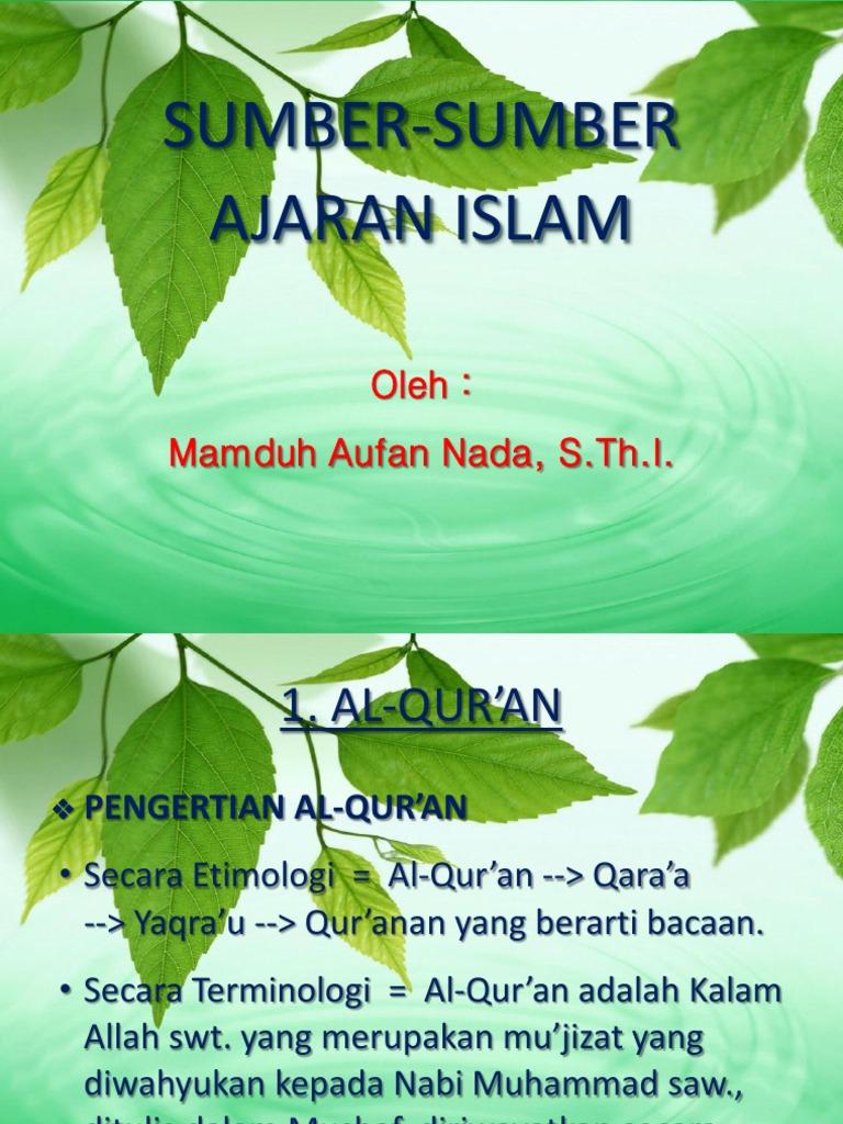 5 Sumber Ajaran Islam
