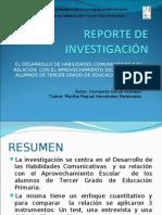 PresentaciÓn Reporte de InvestigaciÓn