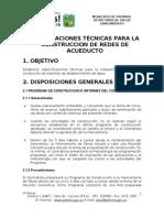 Especificaciones técnicas construcción acueducto