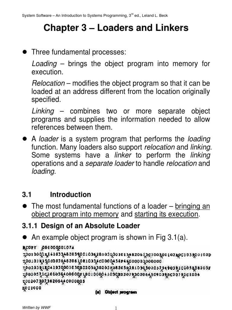 Program For Absolute Loader