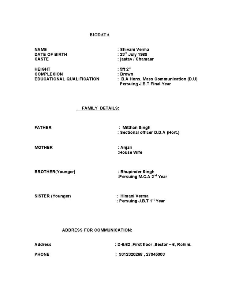 indian matrimonial biodata format