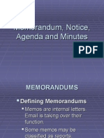 Memorandum, Notice and Minutes